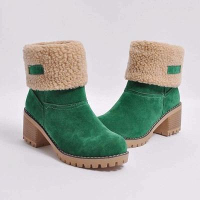 Nubuck Chunky Heel Slip-On Round Toe Boots_5