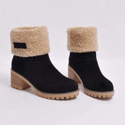 Nubuck Chunky Heel Slip-On Round Toe Boots_3