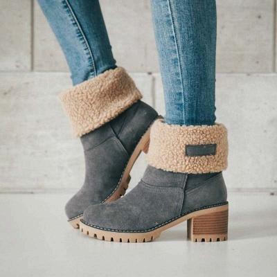 Nubuck Chunky Heel Slip-On Round Toe Boots_7