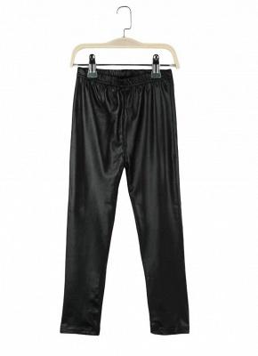 Crianças Meninas Stretchy PU Couro Elástico Na Cintura Calças Skinny Calças Pretas_6