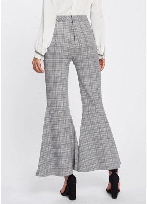 Plaid Print Flared Bell Bottom High Waist Pants_4