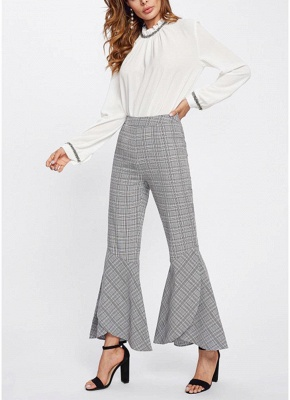 Plaid Print Flared Bell Bottom High Waist Pants_1