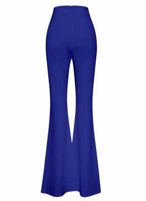 Sexy Women Button Bodycon Bell Pants High Waist Flared Buttom Wide Leg Slim Casual Long Trousers_5