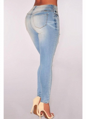 Namorado sexy estilo luz denim cortado rasgado jeans skinny_3