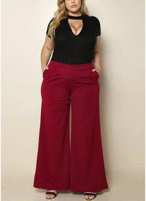 Fashion Women Plus Size Solid Color Side Pockets High Waist Wide Leg Pants_4