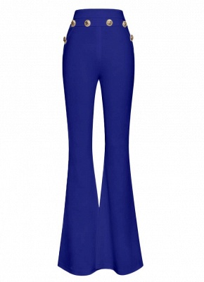 Sexy Women Button Bodycon Bell Pants High Waist Flared Buttom Wide Leg Slim Casual Long Trousers_4
