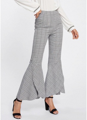 Plaid Print Flared Bell Bottom High Waist Pants_3