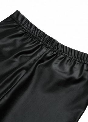 Crianças Meninas Stretchy PU Couro Elástico Na Cintura Calças Skinny Calças Pretas_8
