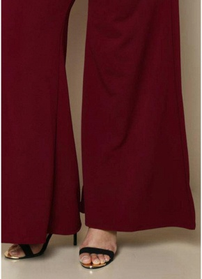 Fashion Women Plus Size Solid Color Side Pockets High Waist Wide Leg Pants_7