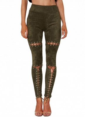 Sexy Faux Suede Lace Up Bandage High Waist Women's Leggings_5