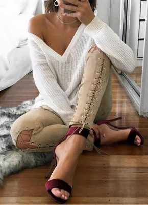 Sexy Faux Suede Lace Up Bandage High Waist Women's Leggings_1