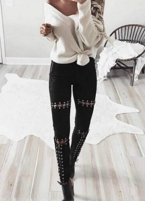 Sexy Faux Suede Lace Up Bandage High Waist Women's Leggings_3
