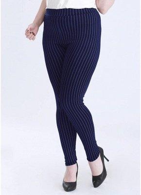 Plus Size elastische Taille gestreiften Bodycon Hosen_4