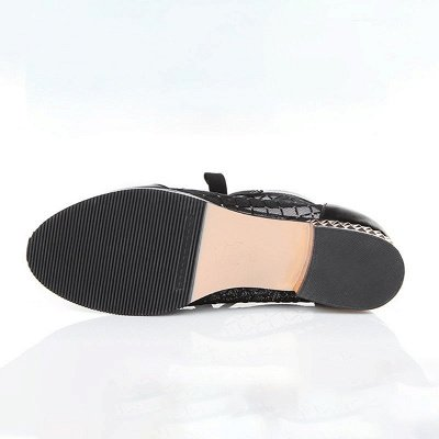 Черная короткая каблук Bowknot Casual Mesh Boots_6