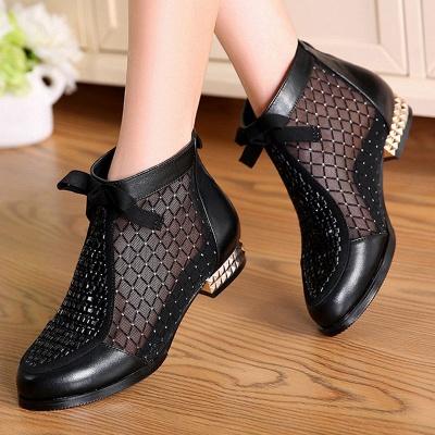 Черная короткая каблук Bowknot Casual Mesh Boots_1