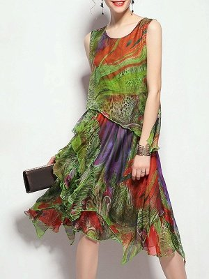 Green Midi Dress A-line Daytime Dress Sleeveless Asymmetric Floral Dress_4