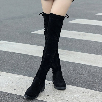 Black Suede Daily Chunky Heel Round Toe Boots_1