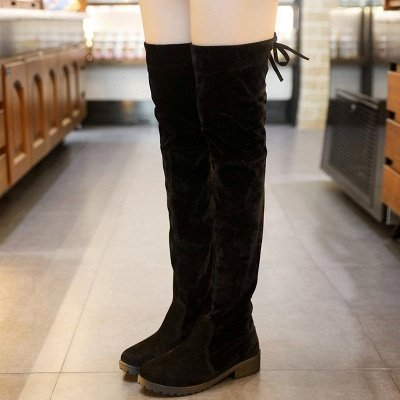 Black Suede Daily Chunky Heel Round Toe Boots_6