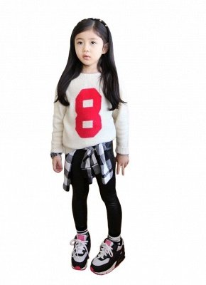 Kids Girls Stretchy Кожа PU Эластичная талия Кожаные брюки Брюки Черные_4