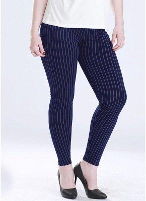 Plus Size elastische Taille gestreiften Bodycon Hosen_3