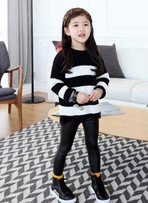Kids Girls Stretchy Кожа PU Эластичная талия Кожаные брюки Брюки Черные_1