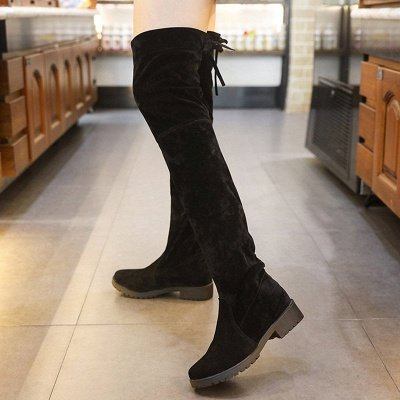 Black Suede Daily Chunky Heel Round Toe Boots_5