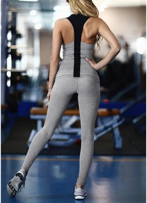 Women Tracksuit Set Fitness Vest Elastic Pants Set Casual Trousers Outfit_3