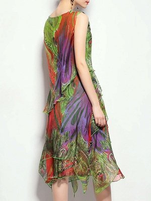 Green Midi Dress A-line Daytime Dress Sleeveless Asymmetric Floral Dress_3
