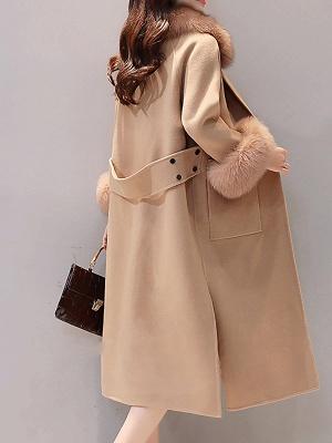 Manteau moelleux fendu à manches longues et col châle_4