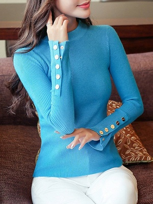 Long Sleeve Sheath Solid Ribbed Casual Sweater_2