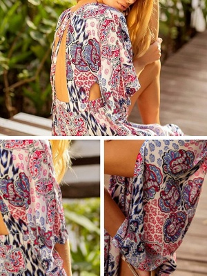 V neck Multicolor Maxi Dress A-line Daytime Dress 3/4 Sleeve Boho Chiffon Slit Tribal Dress_6
