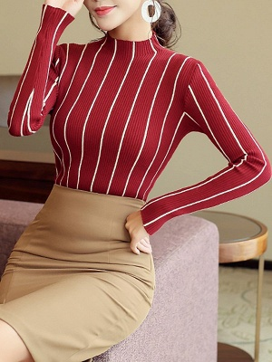 Casual Long Sleeve Sheath Sweater_5