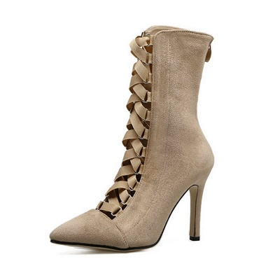 Lace-up Stiletto Heel Daily Elegant Pointed Toe Boots_2