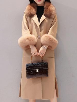 Manteau moelleux fendu à manches longues et col châle_1