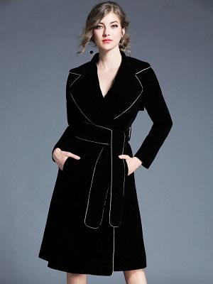 Black Work Lapel Shift Pockets Long Sleeve Coat_4