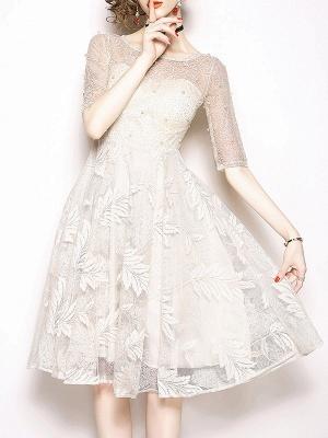 White Flounce Elegant Crew Neck Lace Beaded Guipure lace A-line Midi Dresses_1