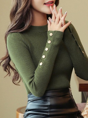 Long Sleeve Sheath Solid Ribbed Casual Sweater_4