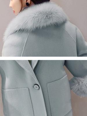 Manteau moelleux fendu à manches longues et col châle_8