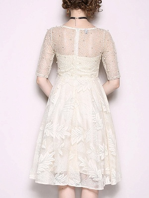 White Flounce Elegant Crew Neck Lace Beaded Guipure lace A-line Midi Dresses_3