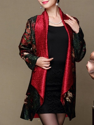 Asymmetrical Long Sleeve Shawl Collar Casual Crinkled Printed Coat_4