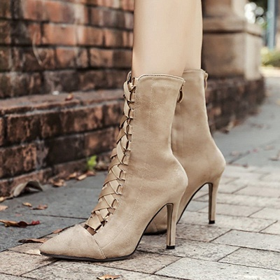 Lace-up Stiletto Heel Daily Elegant Pointed Toe Boots_6