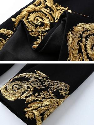 Black Midi Dress Bodycon Party Dress Long Sleeve Elegant Embroidered Floral Dress_5
