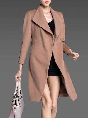 Apricot Long Sleeve Solid Buttoned Pockets Coat_5