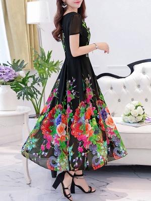 Square Neck Maxi Kleid Tageskleid Kurzarm Boho Printed Floral Dress_4