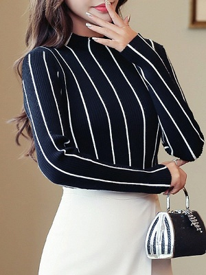 Casual Long Sleeve Sheath Sweater_7