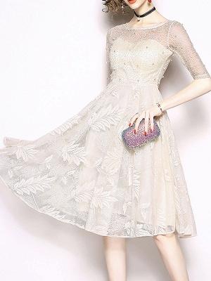 White Flounce Elegant Crew Neck Lace Beaded Guipure lace A-line Midi Dresses_8