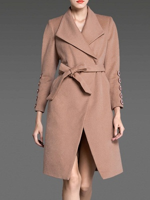 Apricot Long Sleeve Solid Buttoned Pockets Coat_1