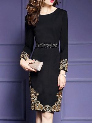 Black Midi Dress Bodycon Party Dress Long Sleeve Elegant Embroidered Floral Dress_6