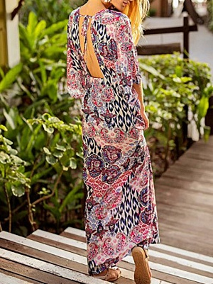 V neck Multicolor Maxi Dress A-line Daytime Dress 3/4 Sleeve Boho Chiffon Slit Tribal Dress_3