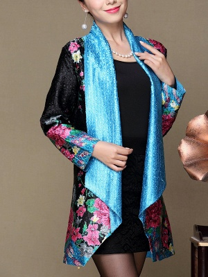 Asymmetrical Long Sleeve Shawl Collar Casual Crinkled Printed Coat_3